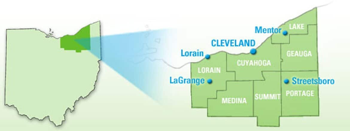 Locations - A picture of a map showing the services areas Ohio Junk Force covers in Cuyahoga County Ohio.
