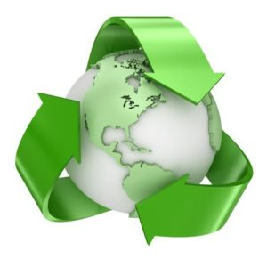 Recycle the earth symbol. A 3d render of a computer generated image.
