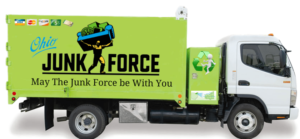 A picture of the Ohio Junk Force company truck use as the dumpster hauling alternative.