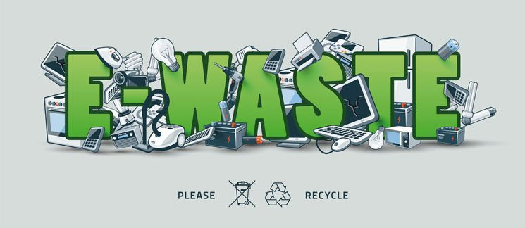 E Waste - Pictures of electrical and electronic equipment creating pile around the green E-Waste sign. Computers, tv's and other obsolete used electronic waste stack on the title. A waste management concept in a graffiti and street art feel.