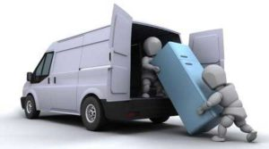 Cleveland Refrigerator Removal - A 3D rendering of two men loading a refrigerator into a van.