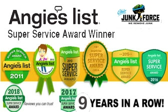 Ohio Junk Force - A picture showing a five year super service award Icon from Angie's List.